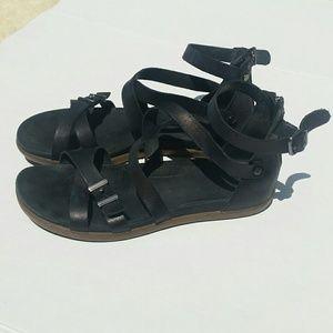 Ugg Cherie leather gladiator sandal, black, 9.5